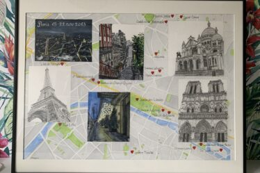 A personalised map of Paris with illustrations of several locations.
