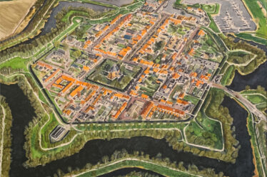 Painting of Willemstad in The Netherlands from above