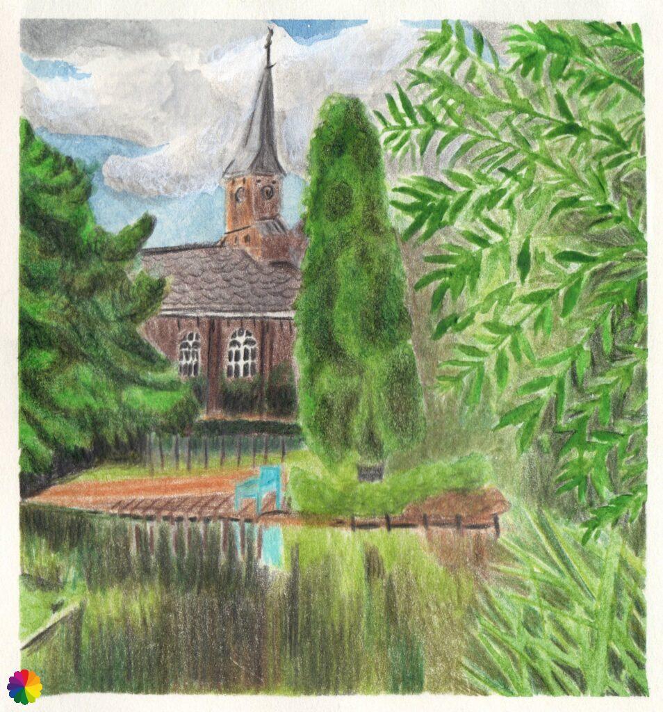 Illustration church hervormde kerk at Reeuwijk-Dorp