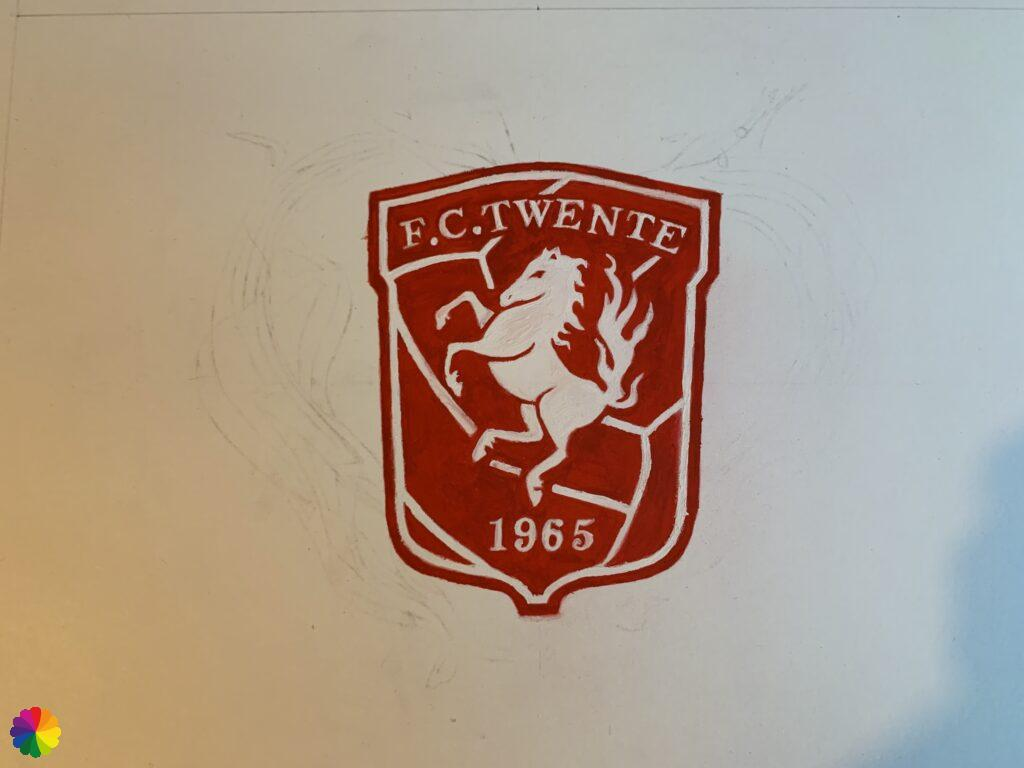FC Twente logo with gouache