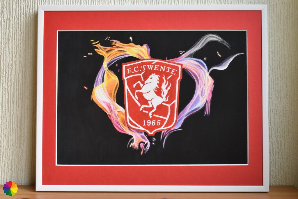 FC Twente painting with heart of flames