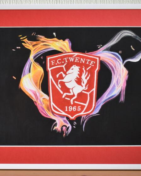 FC Twente schilderij met vlammend hart