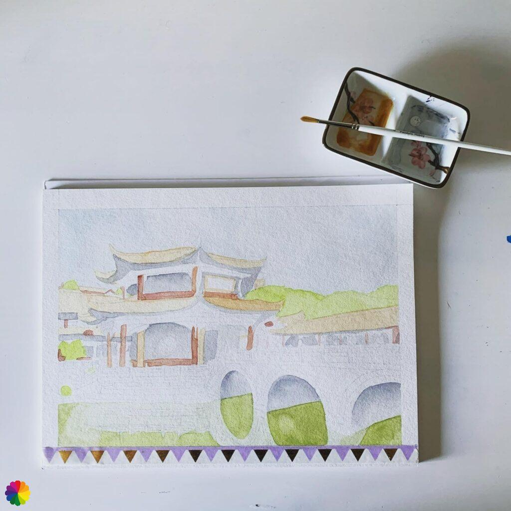 First layer of paint Chinese temple