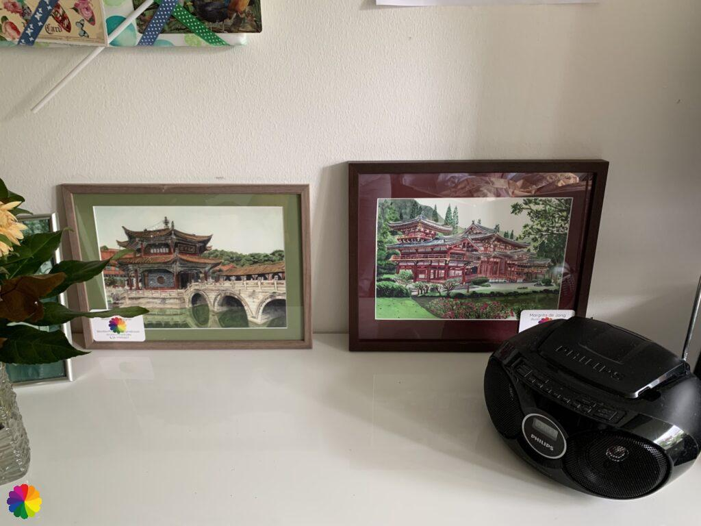 Framed prints of Chinese and Japanse temple