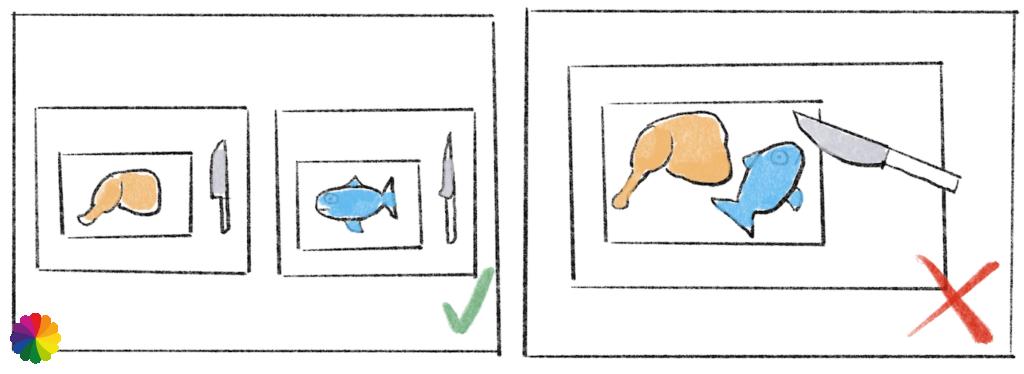 Illustration sketch cross-contamination