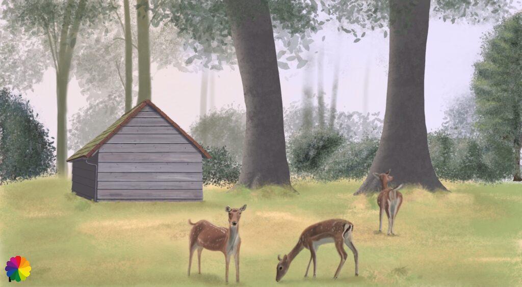 Illustration deer park Heenvliet