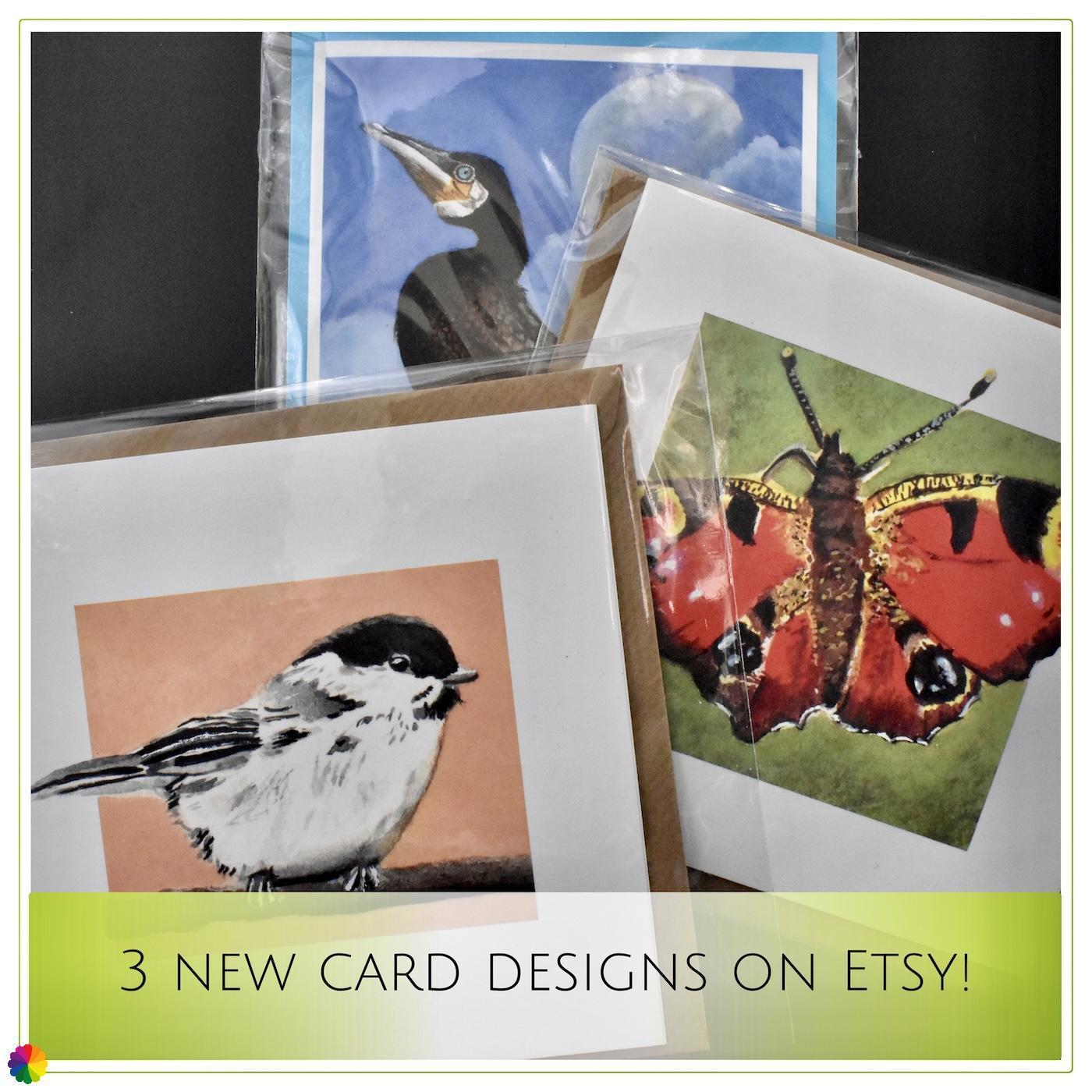 Etsy-update drie nieuwe kaarten in de shop