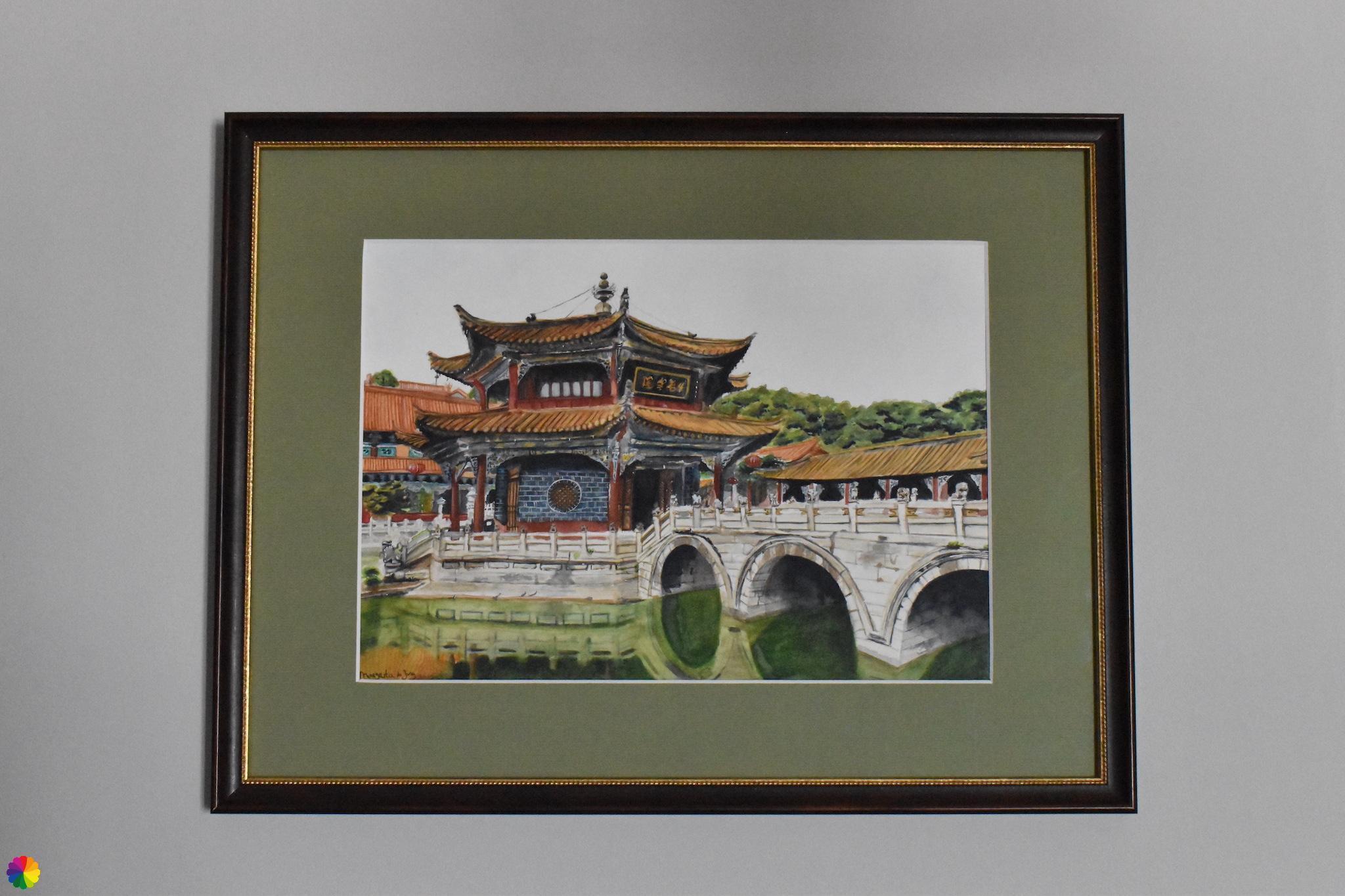 Origineel schilderij Yuantong tempel