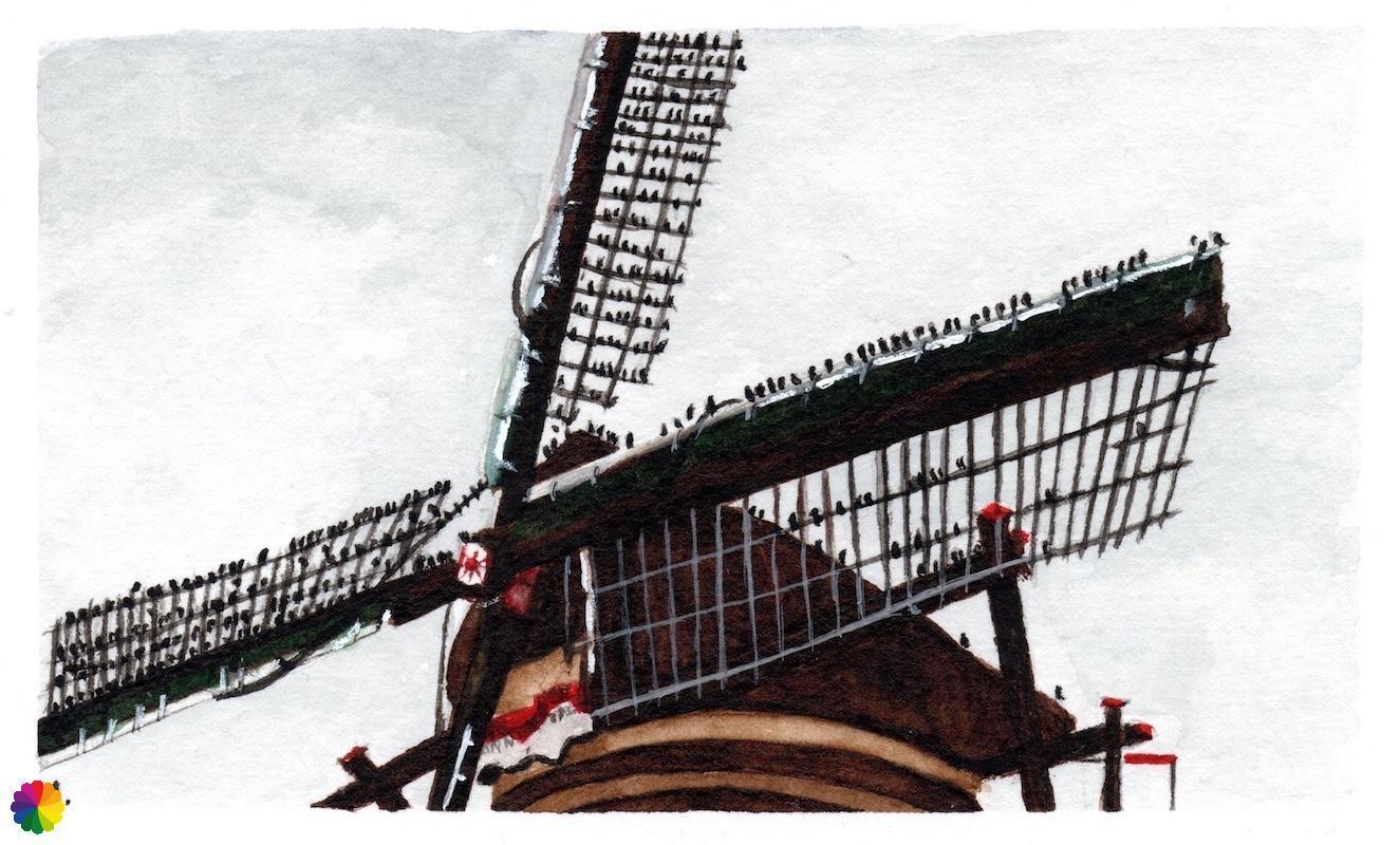 Illustratie Kinderdijk molen met zwerm spreeuwen op de wieken