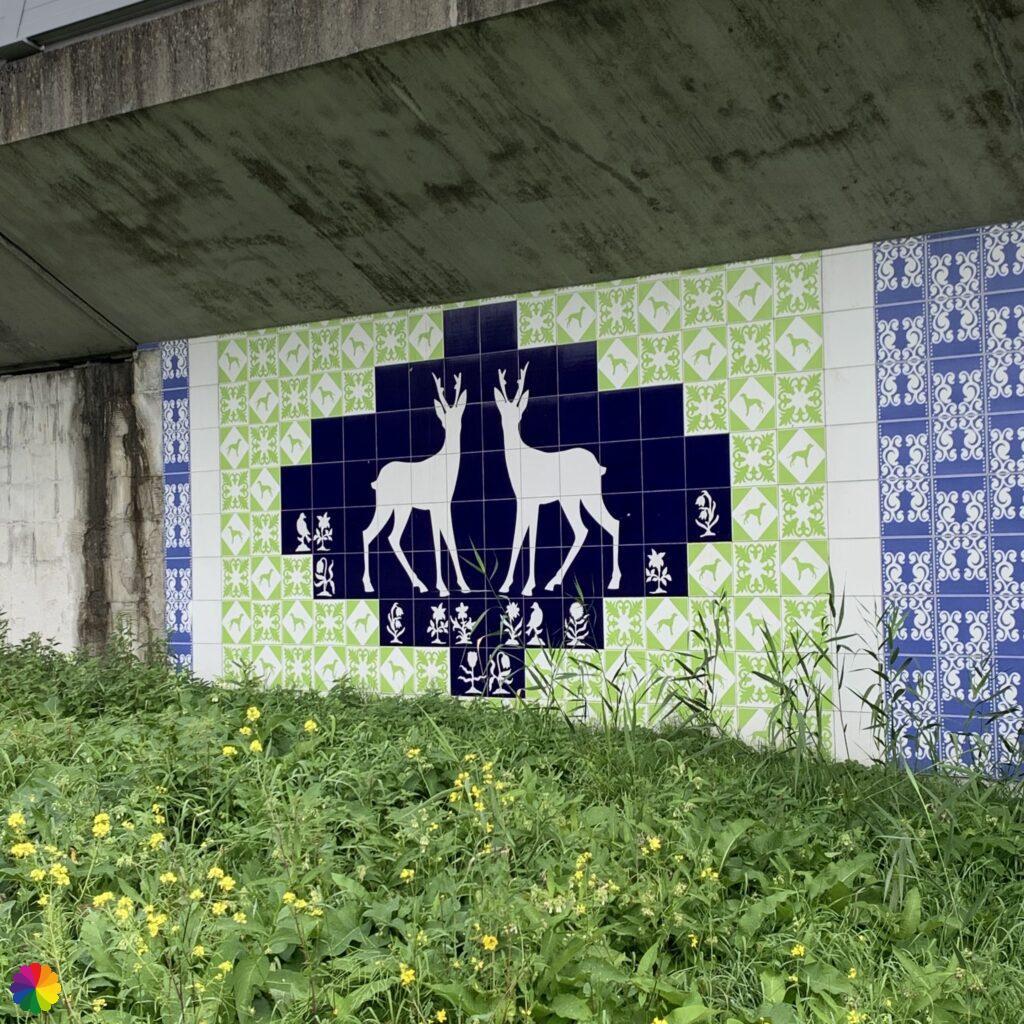 Tile tableau with roe deer