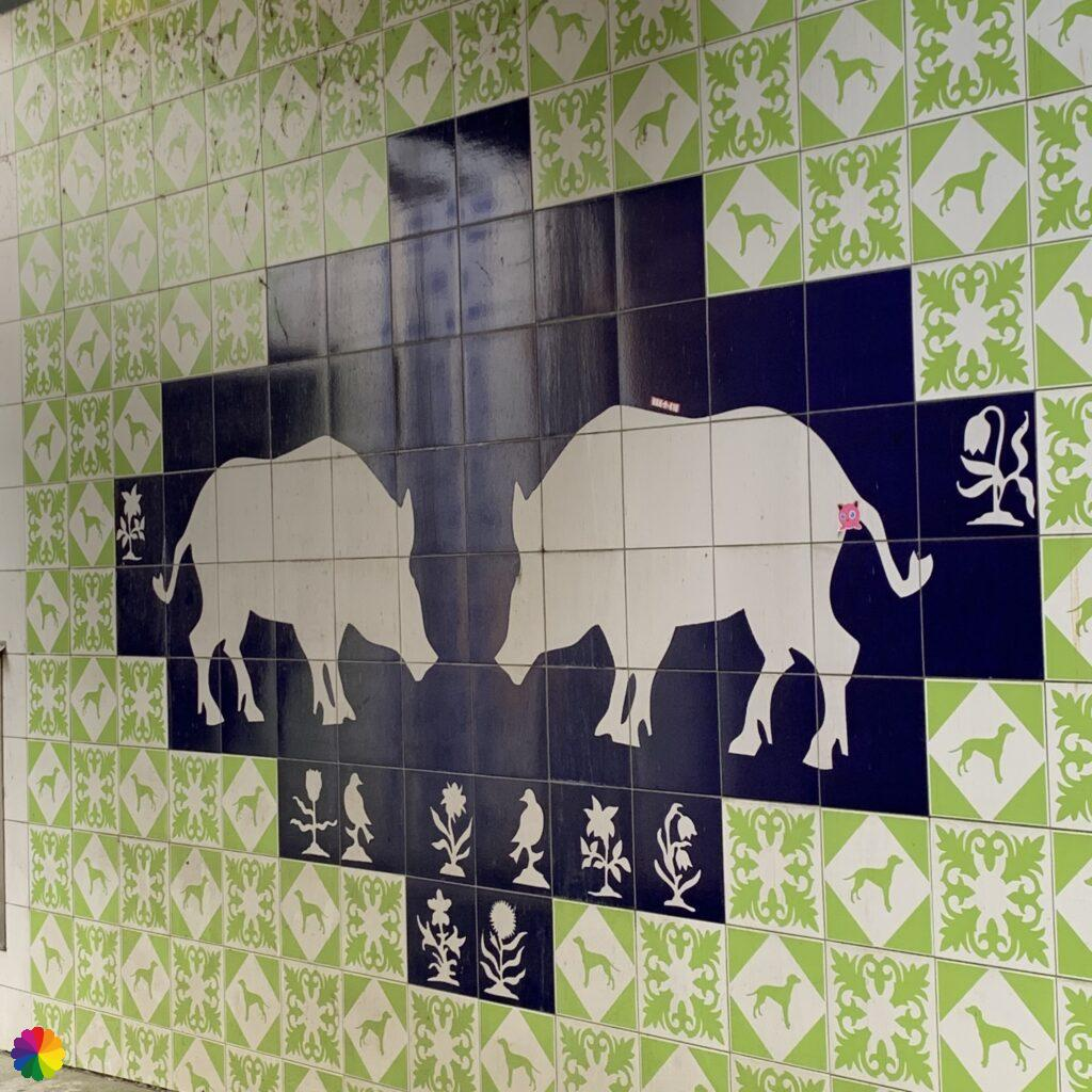 Tile tableau with wild hogs