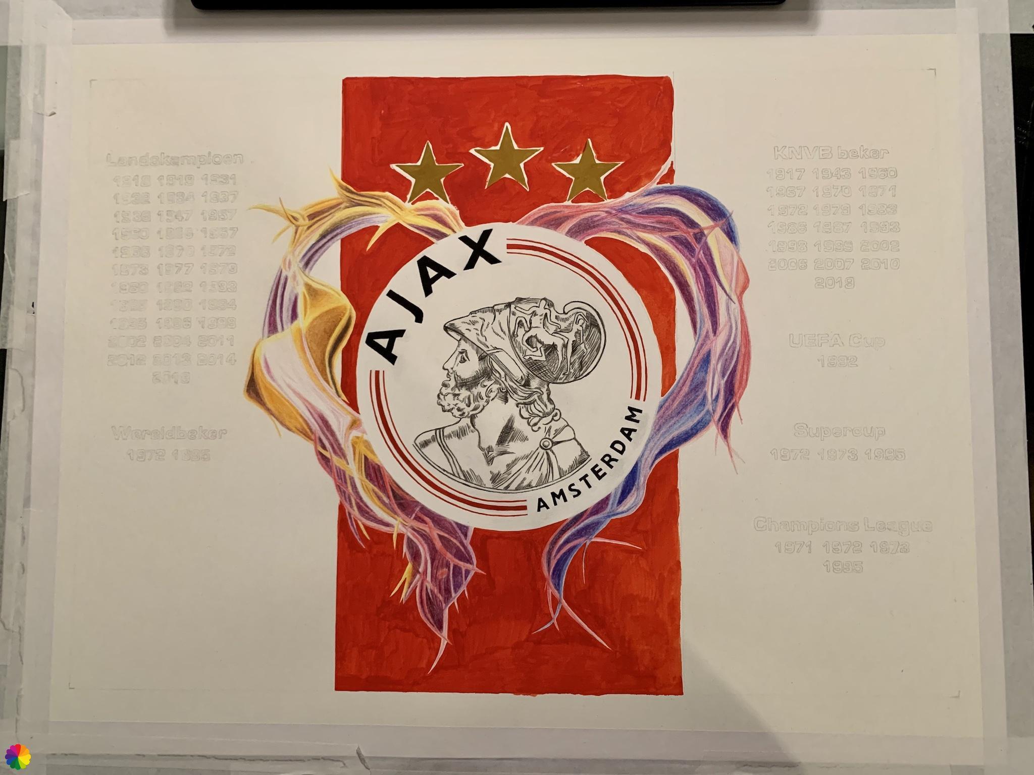 Ajax-logo en kampioenschapssterren