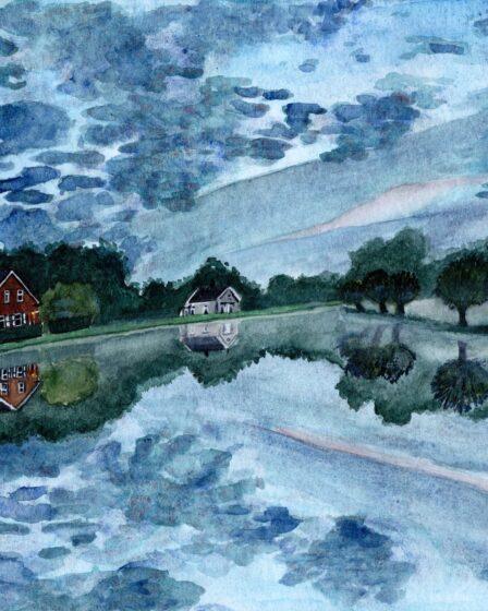 Illustration misty lake at Loet woodlands