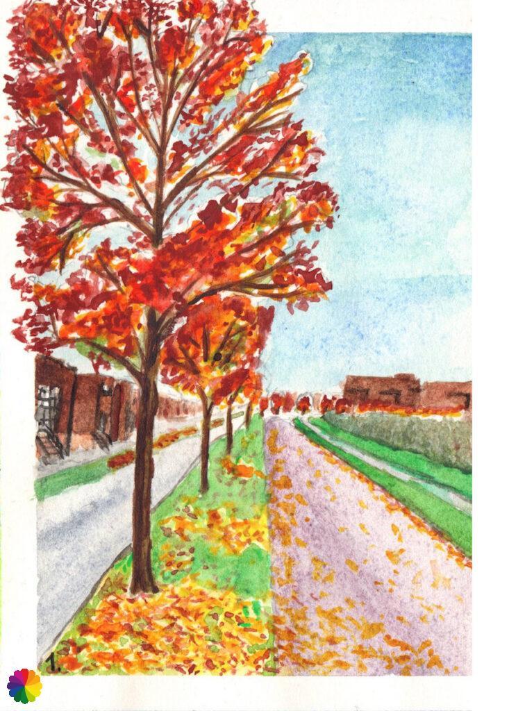 Illustratie herfstige bomen in Nesselande