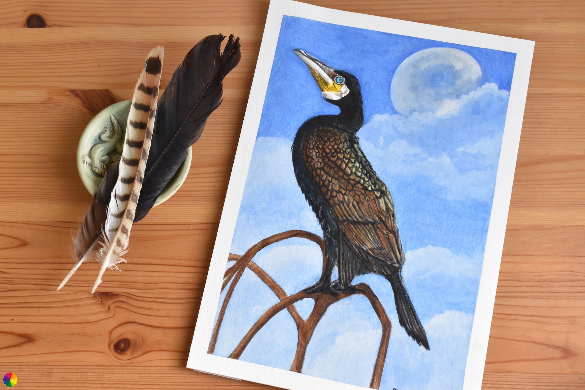 Originele illustratie Aalscholver met maan