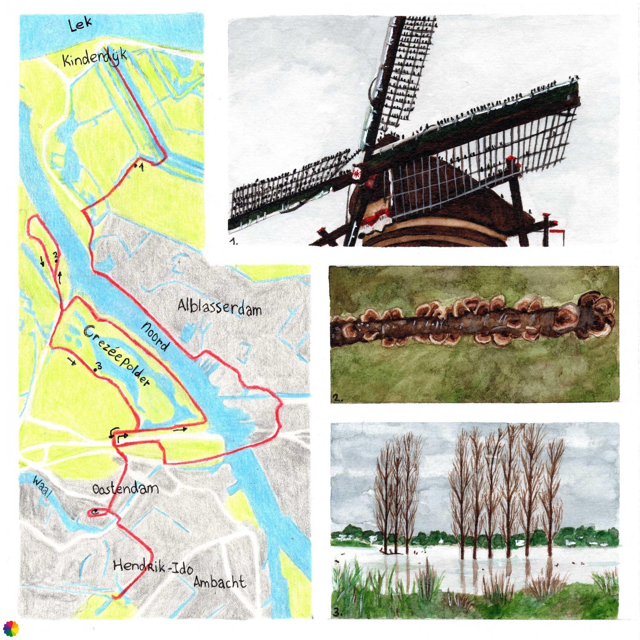 Wandelkaartje Kinderdijk - Hendrik-Ido Ambacht