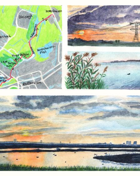 Wandelkaartje Grote rivierenpad Zevenhuizen - Hillegersberg