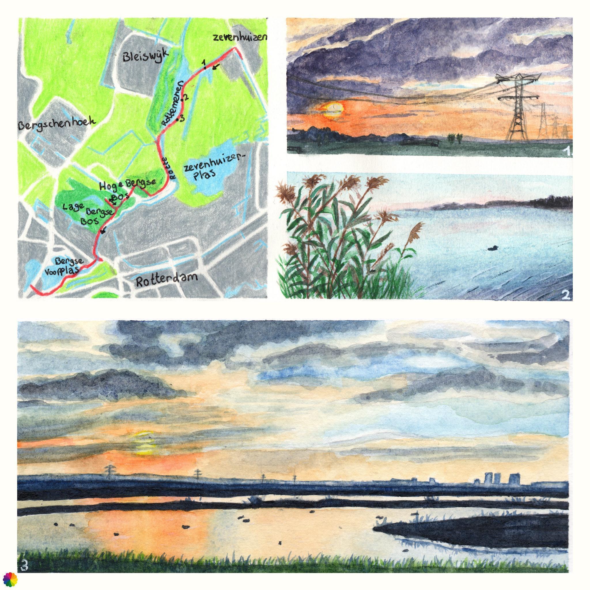 Wandelkaartje Grote rivierenpad Zevenhuizen - Hilligersberg