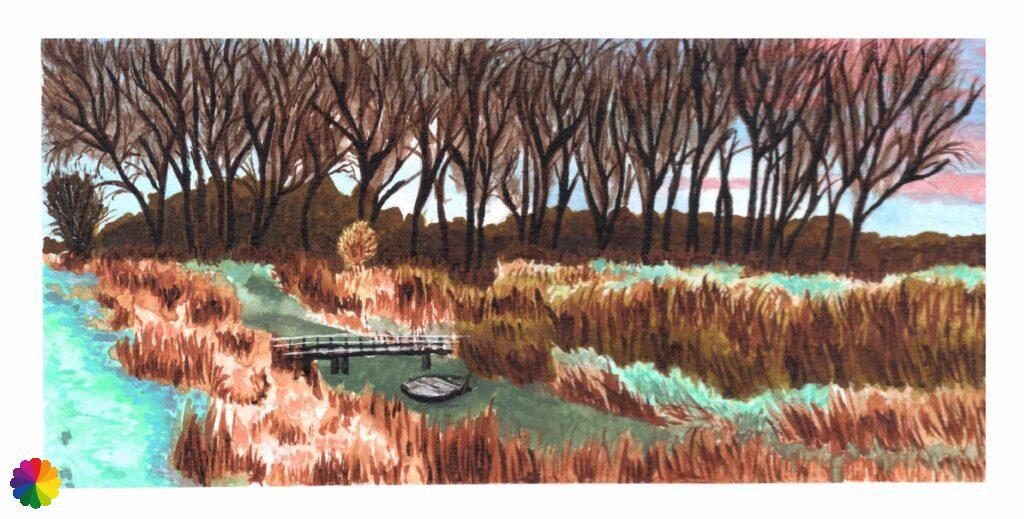 Illustration Lek river in pastel colours