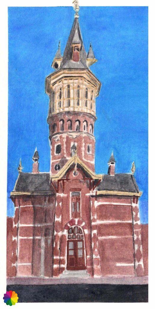 Illustration water tower in Schoonhoven