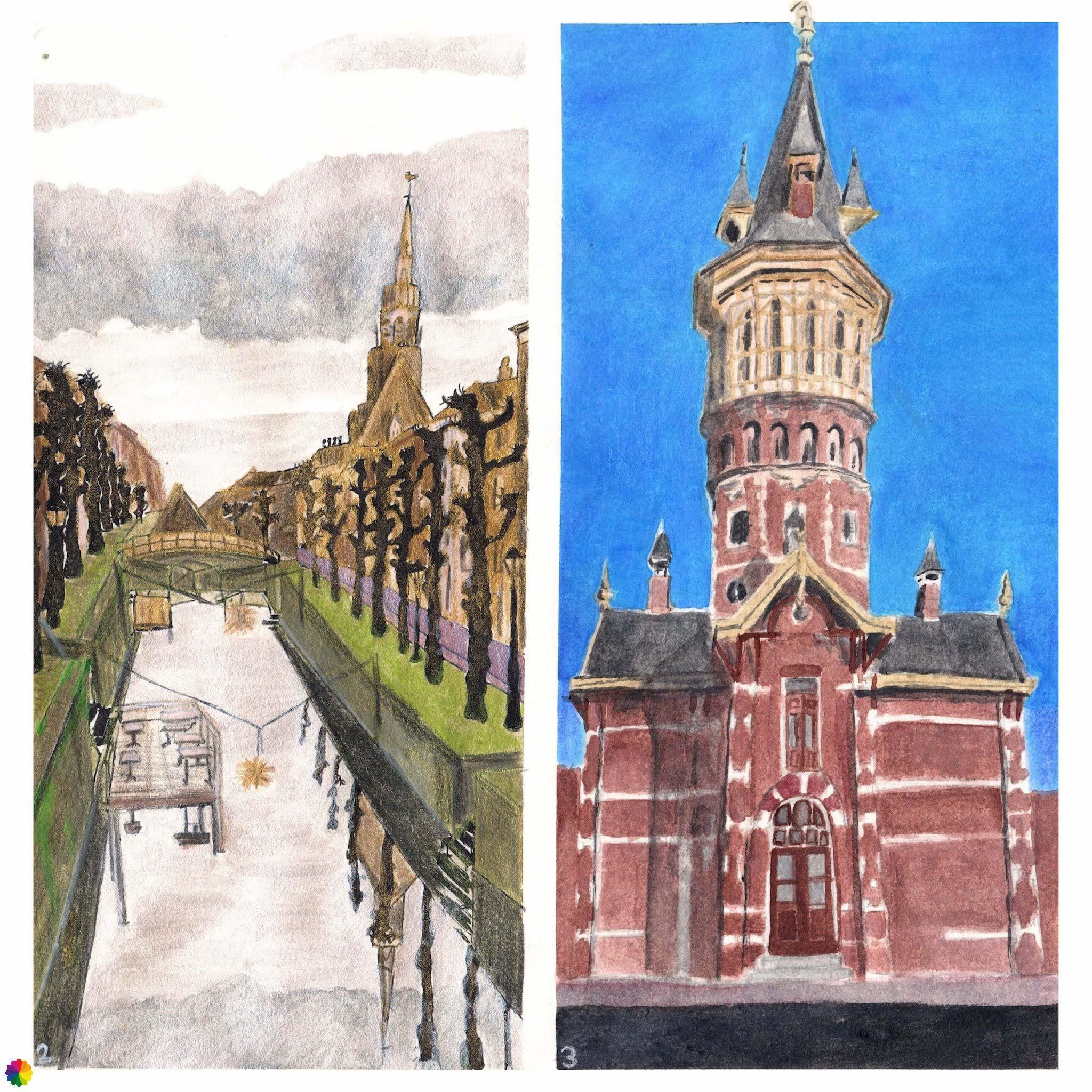 Illustraties Schoonhoven binnenstad en watertoren