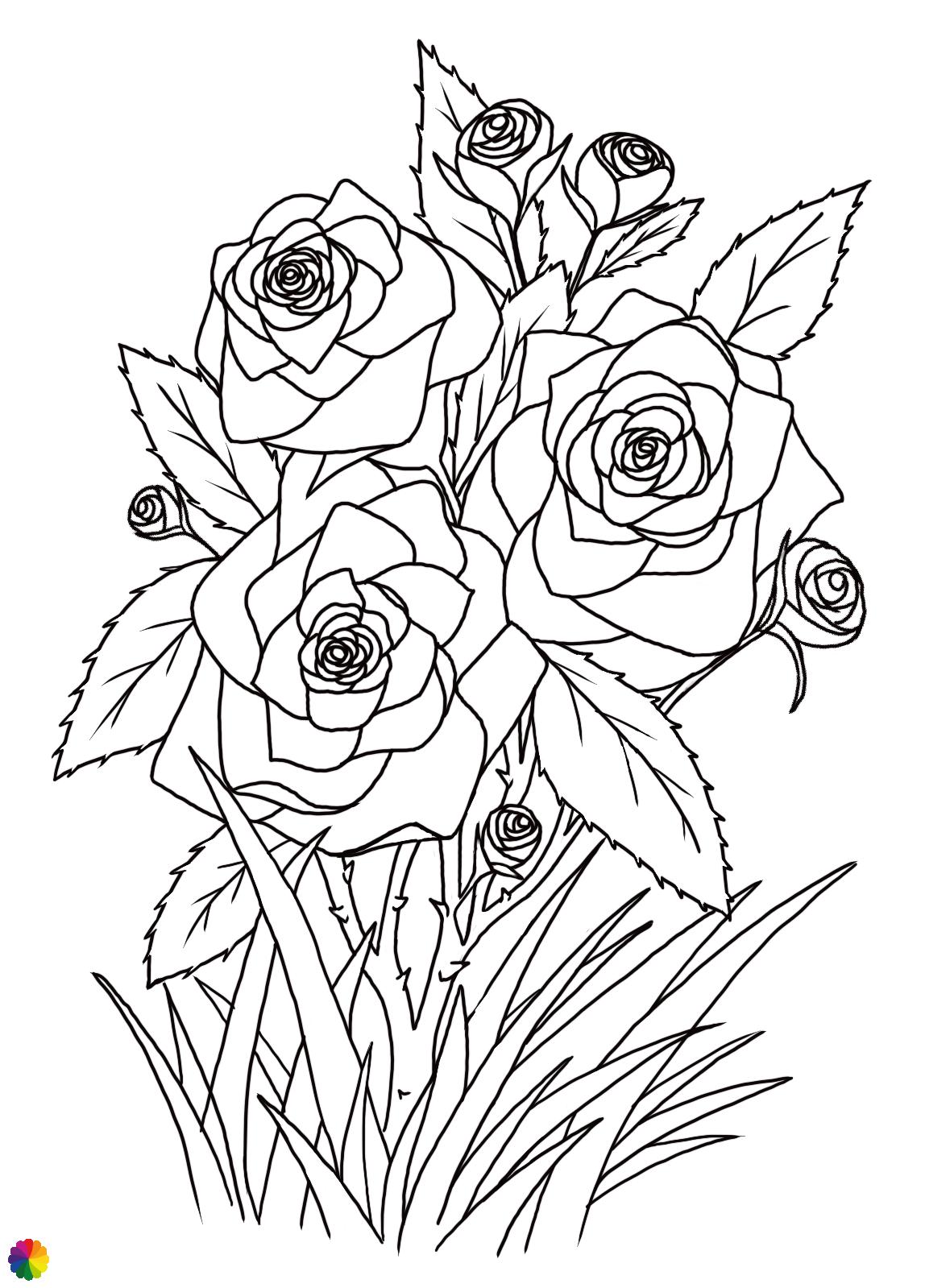 Rozen-tattoo in lijnen