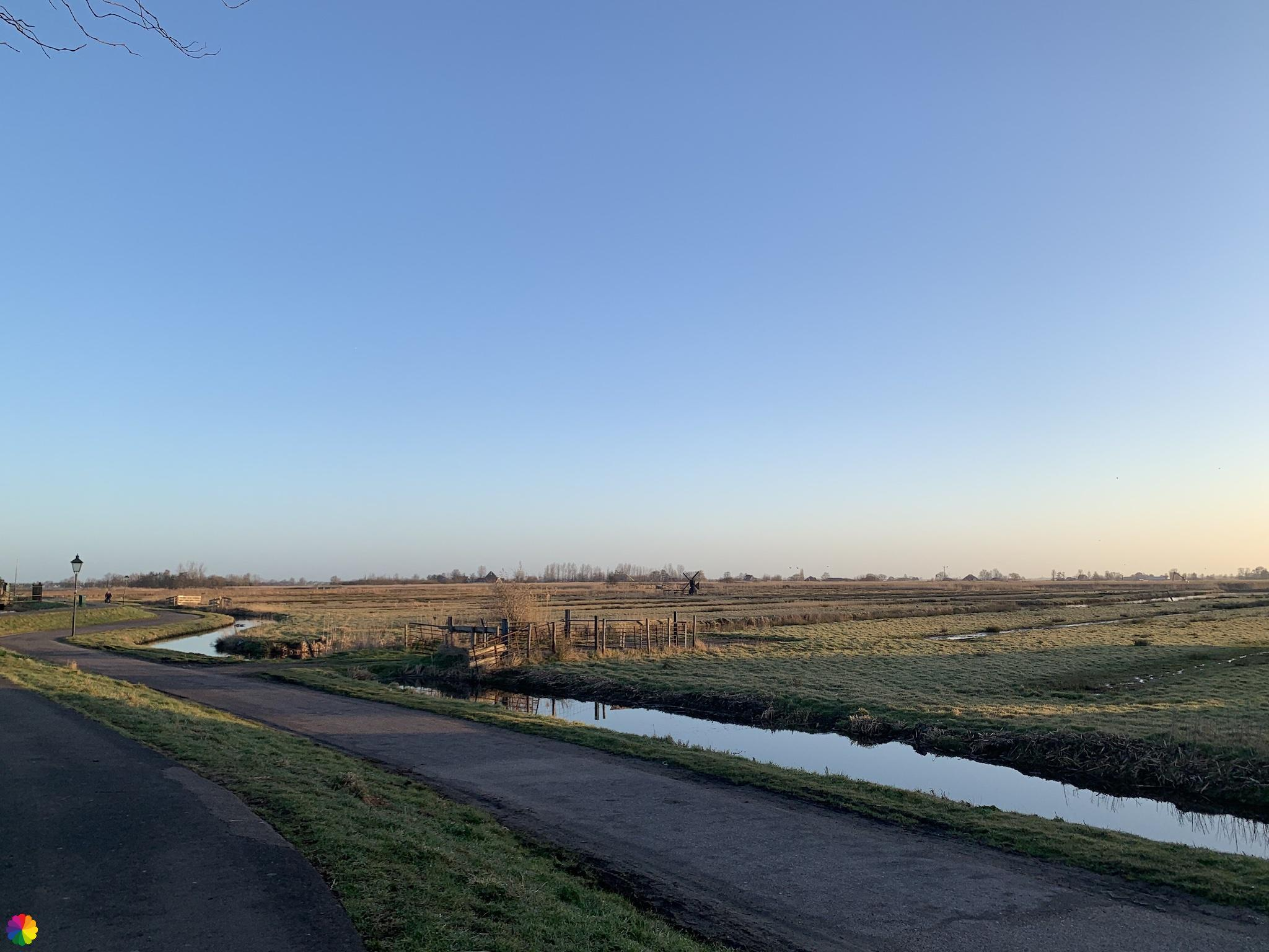 Uitzicht vanaf de Klaverringdijk Zaanse Schans