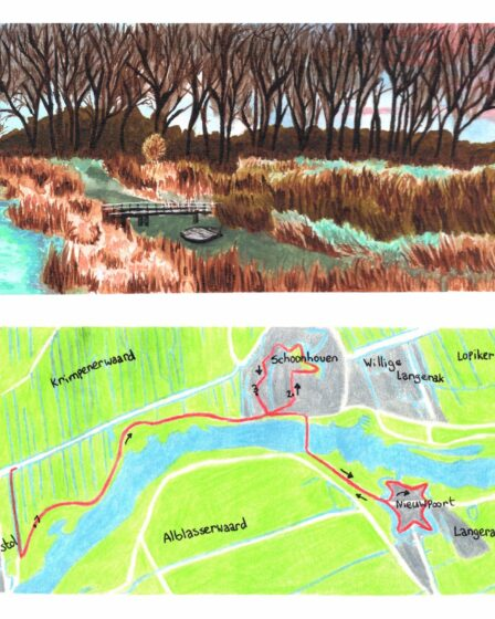 Wandelkaartje Grote rivierenpad Ammerstol - Nieuwpoort