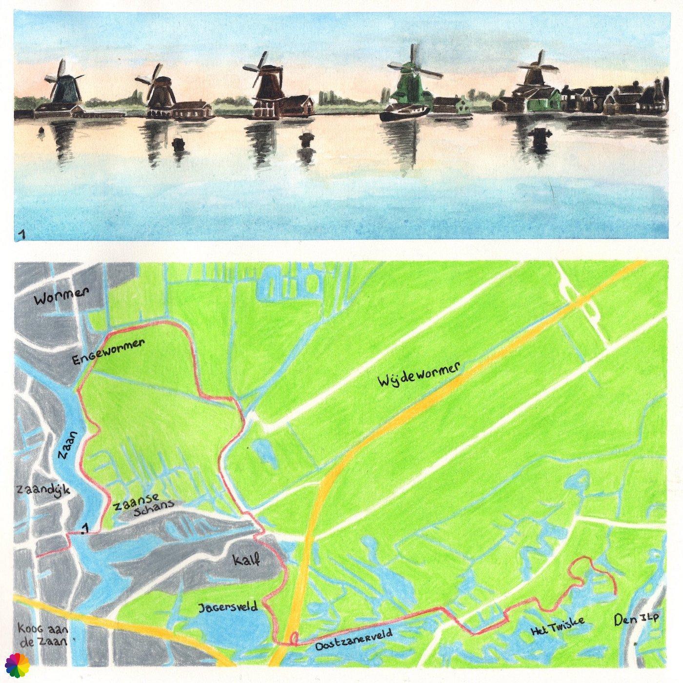 Wandelkaartje Trekvogelpad Zaanse Schans - Den Ilp